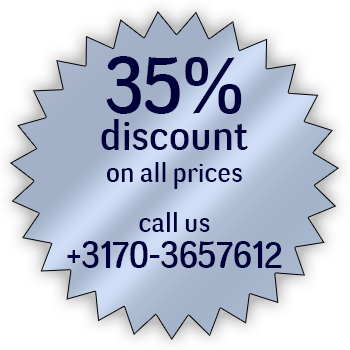 35% discount on all prices Call us at +3170-3657612